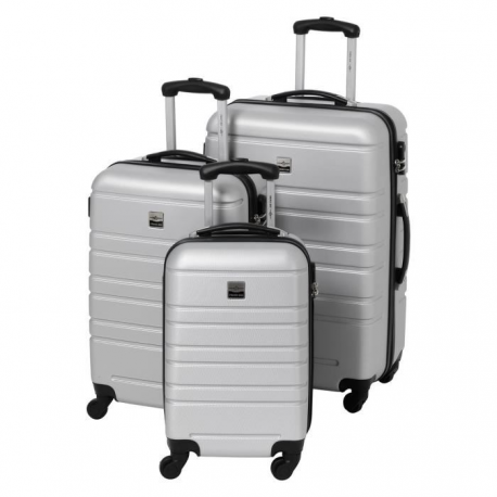 FRANCE BAG Set de 3 Valises Rigide ABS 4 Roues 556570cm Argent