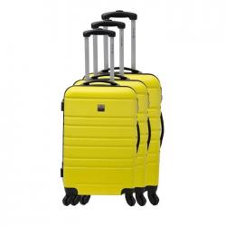 FRANCE BAG Set de 3 Valises Rigide ABS 4 Roues 556570cm Jaune
