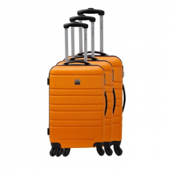 FRANCE BAG Set de 3 Valises Rigide ABS 4 Roues 556570cm Orange