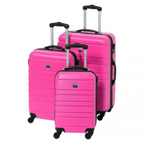 FRANCE BAG Set de 3 Valises Rigide ABS 4 Roues 556570cm Rose