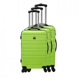FRANCE BAG Set de 3 Valises Rigide ABS 4 Roues 556570cm Vert