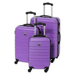 FRANCE BAG Set de 3 Valises Rigide ABS 4 Roues 556570cm Violet