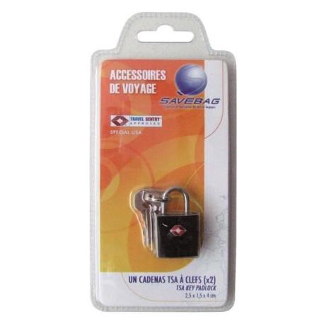 SAVEBAG Cadenas TSA a 2 clefs en métal  Noir