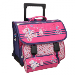 LULU CASTAGNETTE Lot 1 trousse  1 cartable roulettes 1 compartiment  Primaire ? Fille ? Rose  38 cm