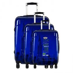 AMERICAN REVIVAL Set de 3 Valises Rigide ABS & Polycarbonate 4 Roues 506070cm HARDING Bleu