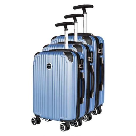 CDB Set de 3 Valises Chariots Rigides ABS 8 Roues 485869cm Bleu Monobranche