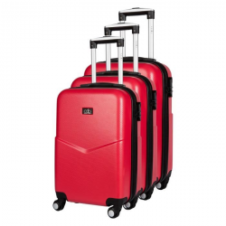 CDB Set de 3 Valises Chariots Rigides ABS Aspect croco 4 Roues 516171cm Rouge