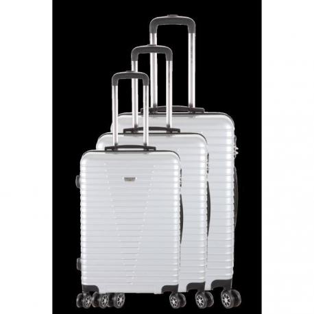 FRANCE BAG  Set de 3 valises 8 roues multidirectionelles ABS/POLYCARBONATE Argent