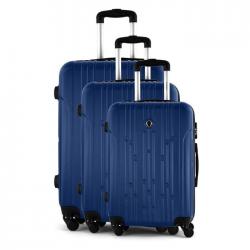 JLS Set de 3 Valises chariot  ABS  4 roues  75 cm  Bleu